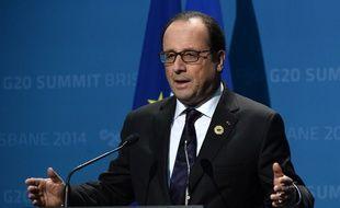 François Hollande lors d'une conférence de presse après le G20 à Brisbane, le 16 novembre 2014.