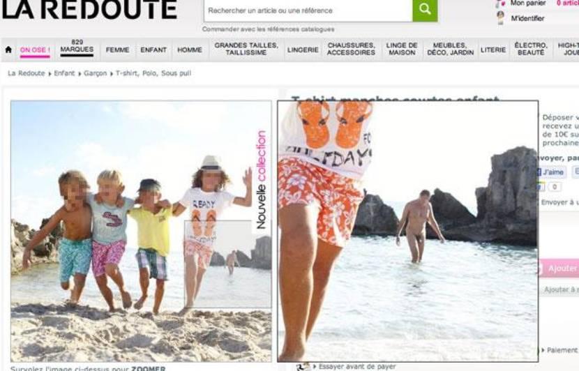 La Redoute: Un homme nu s'invite sur une photo des pages enfant