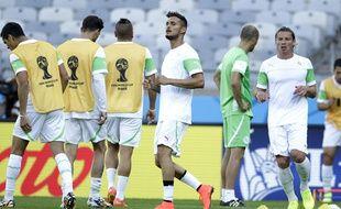 Le défenseur Liassine Cadamuro à l'entraînement avec l'équipe d'Algérie, le 16 juin 2014 à Belo Horizonte, lors de la Coupe du monde.