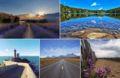 De g. à dr. et de h. en b. : Entrevennes / Lac du Carlit / phare du Minou / désert d'Atacama / plage de l'Aiguillon-sur-Mer