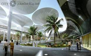 Vue d'artiste de la ville en construction de Masdar City