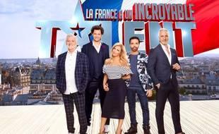 Visuel promo de la saison 12 de «La France a un incroyable talent» avec les jurés (de g. à dr.) Gilbert Rozon, Eric Antoine, Hélène Ségara et Kamel Ouali. Et l'animateur, David Ginola.