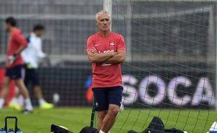 Le sélectionneur Didier Deschamps lors d'une séance d'entraînement avant le match amical Serbie-France (1-1), le 6 septembre 2014.