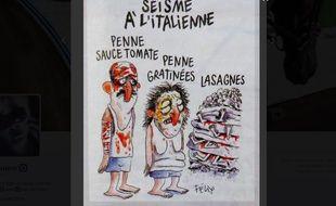 Le dessin de Félix sur le séisme en Italie, dans Charlie Hebdo.