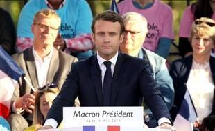Emmanuel Macron candidat d'En Marche! à l'élection présidentielle ici en meeting à Albi jeudi 4 mai.