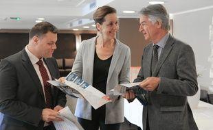 Primaire à droite et au centre. (de G à D) : Christian Ball, Fabienne Keller et André Reichardt du comité d'organisation de la primaire dans le Bas-Rhin. Strasbourg le 4 novembre 2017.
