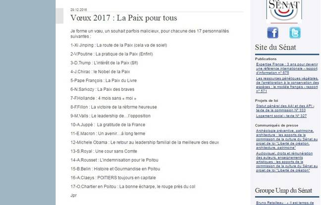 Les vœux de Jean-Pierre Raffarin pour 2017.