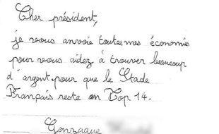 La lettre de Gonzague, 9 ans, adressée à Max Guazzini.