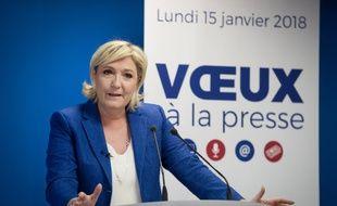 Marine Le Pen lors de ses vœux à la presse
