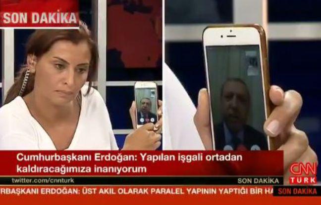 Le président turc Recep Tayyip Erdogan s'exprime via Facetime sur CNN Turquie, le 16 juillet 2016.