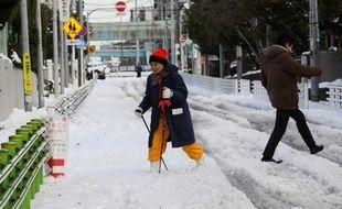 Une femme marche avec un baton dans les rues de Tokyo dimanche 9 février 2014, après une chute de 27 centimètres de neige.