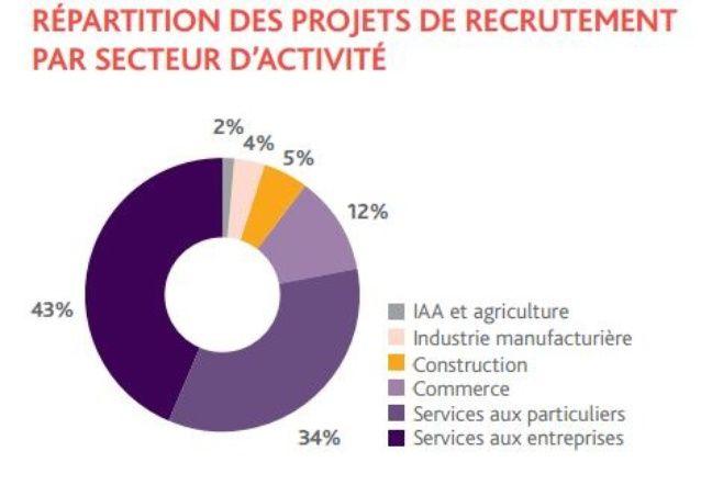 Recrutement par secteur prévu en 2017 en Ile-de-France.