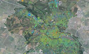 La carte thermographique d'Amiens Métropole.