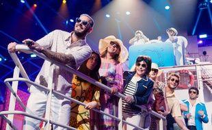Une partie de la troupe des Enfoirés lors du concert enregistré au Zénith de Toulouse, en janvier 2017.