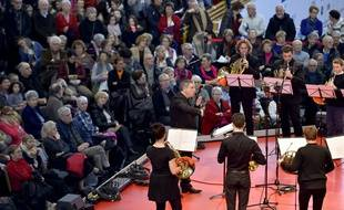 """""""Ensemble de Cors du Conservatoire de Nantes"""" le 3 février à la Folle journée de Nantes / AFP PHOTO / LOIC VENANCE"""