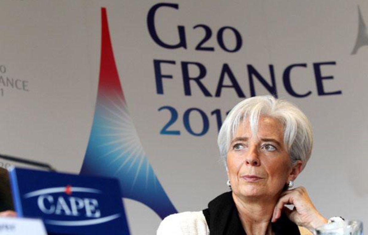 Conférence de presse de Christine Lagarde, la ministre des Finances, et de Christien Noyer, le gouverneur de la Banque de France, à Bercy, avant l'ouverture du G20Finances le 18 février 2011. – MEIGNEUX/SIPA/