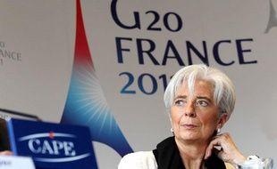 Conférence de presse de Christine Lagarde, la ministre des Finances, et de Christien Noyer, le gouverneur de la Banque de France, à Bercy, avant l'ouverture du G20Finances le 18 février 2011.