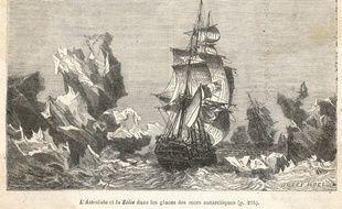 Oeuvre représentant l'Astrolabe, bateau dirigé par Jules Dumont d'Urville recherchant les terres de l'antarctique entre 1837 et 1840