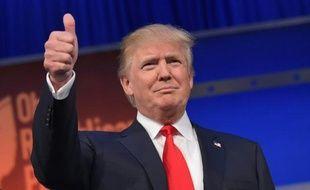 Donald Trump à son arrivée au premier débat des primaires républicaines le 6 août 2015 à Cleveland
