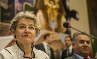 La directrice générale de l'Unesco, Irina Bokova,lors d'une conférence de presse le 13 mai 2015 au Caire