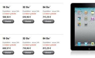 Les prix de l'iPad en France après la hausse due à la taxe sur la copie privée, le 4 février 2011.