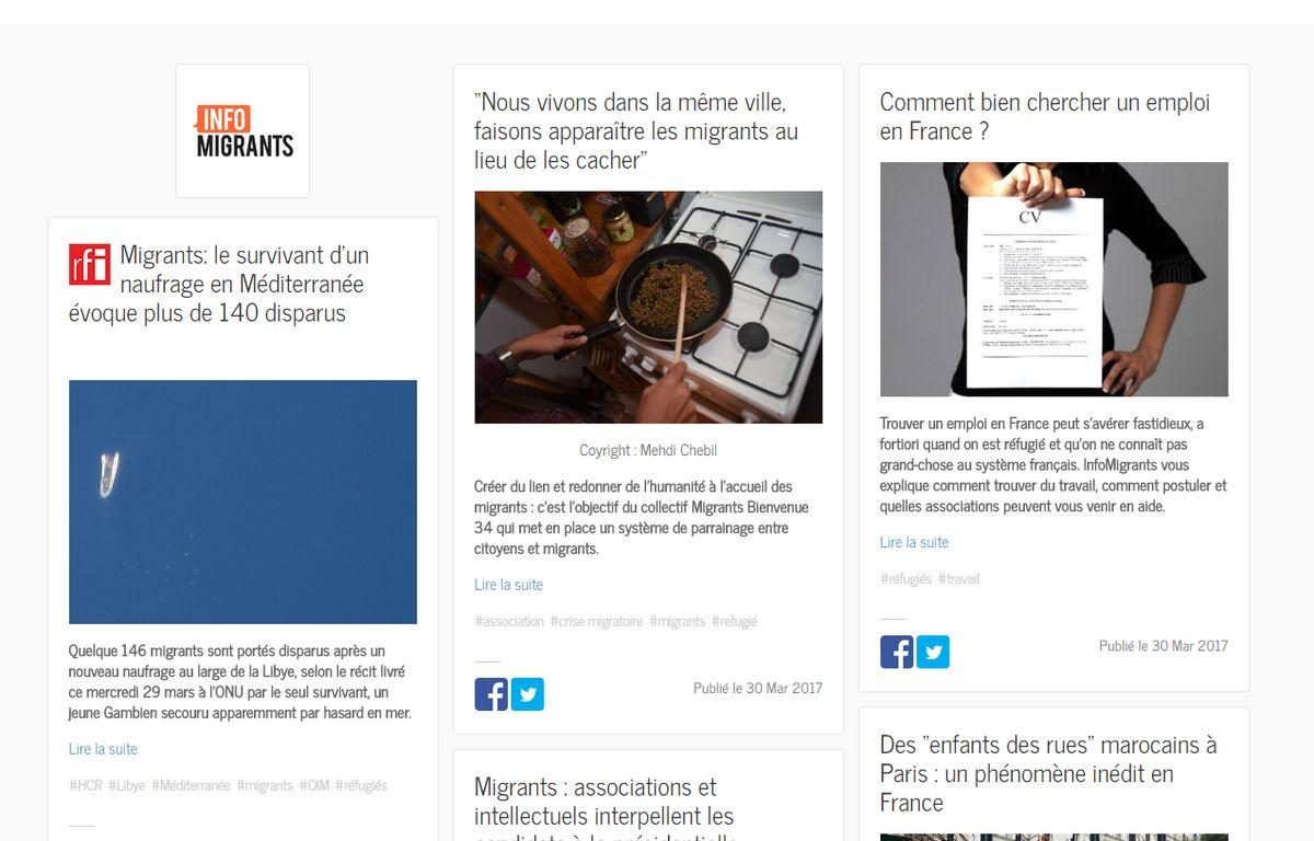 Le site Infomigrants a ouvert il y a 3 semaines – Screenshot infomigrants.net