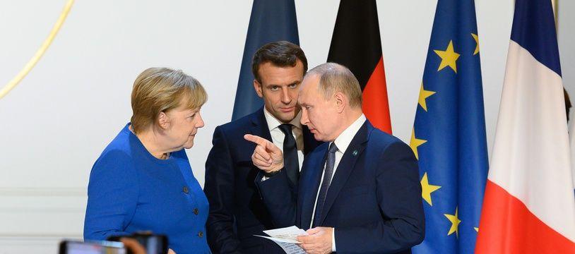 Angela Merkel, Emmanuel Macron et Vladimir Poutine, à Paris le 10 décembre 2019 (illustration).