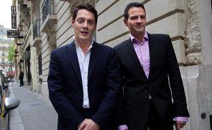 Jérôme Kerviel et son avocat David Koubbi à Paris le 27 avril 2012.