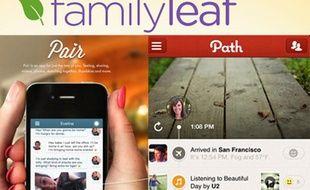 Les réseaux sociaux Pair, Path et Family Leaf, réservés aux proches.