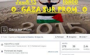 La page Facebook de l'événement Gaza sur Prom prévu à Nice ce jeudi 13 août