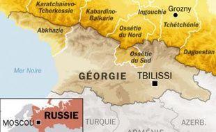 Carte de localisation de Kizliar, au Daguestan dans le Caucase russe, aux frontières de la Tchétchénie, où un double attentat a fait au moins 9 morts, le 31 mars 2010.