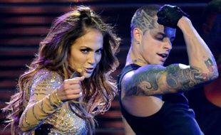 Jennifer Lopez et Casper Smart sur scène à New York le 22 octobre 2011.