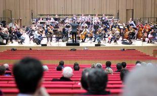 L'orchestre symphonique de Bretagne répète au centre des congrès, installé dans le couvent des Jacobins à Rennes, ici lors de son inauguration le 8 janvier 2018.