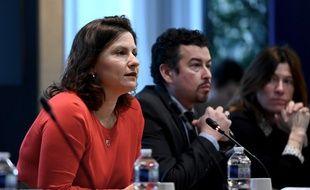 La ministre des Sports Roxana Maracineanu lors d'une réunion avec les acteurs du sports français concernant l'épidémie de coronavirus, le 3 mars 2020.