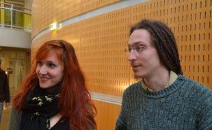 Adrien et Léa, qui étaient accusés de vol de denrées périmées, le 3 février 2015 à Montpellier.