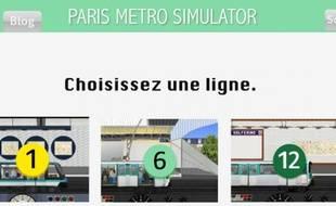 Capture d'écran du site du Paris Metro Simulator