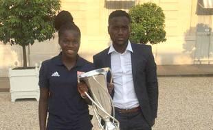 Griedge et Erwan Mbock, à l'Elysée après la victoire de l'OL en Ligue des champions