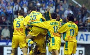La joie des Nantais à Troyes le 29 avril 2001.