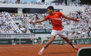 Novak Djokovic en quart de finale à Roland-Garros, le 6 juin 2019.