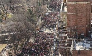 La foule de manifestants de la nouvelle «Marche des femmes», près de Central Park, à New York, le 20 janvier 2018.