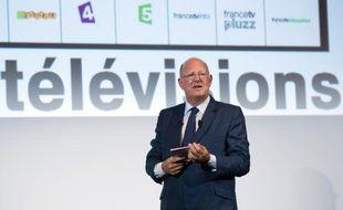 Remy  Pflimlin, président de France Télévisions, à la conférence de presse de rentrée du groupe audiovisuel public, le 27 août 2013, à Paris.