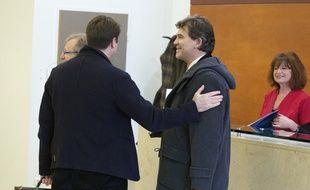 Arnaud Montebourg arrive à l'Ecole française d'affaires internationales à  Fontainebleau, le 3 novembre 2014.