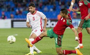Le défenseur marocain Jaouad El Yamiq (à droite) face à la Tunisie en mars dernier.