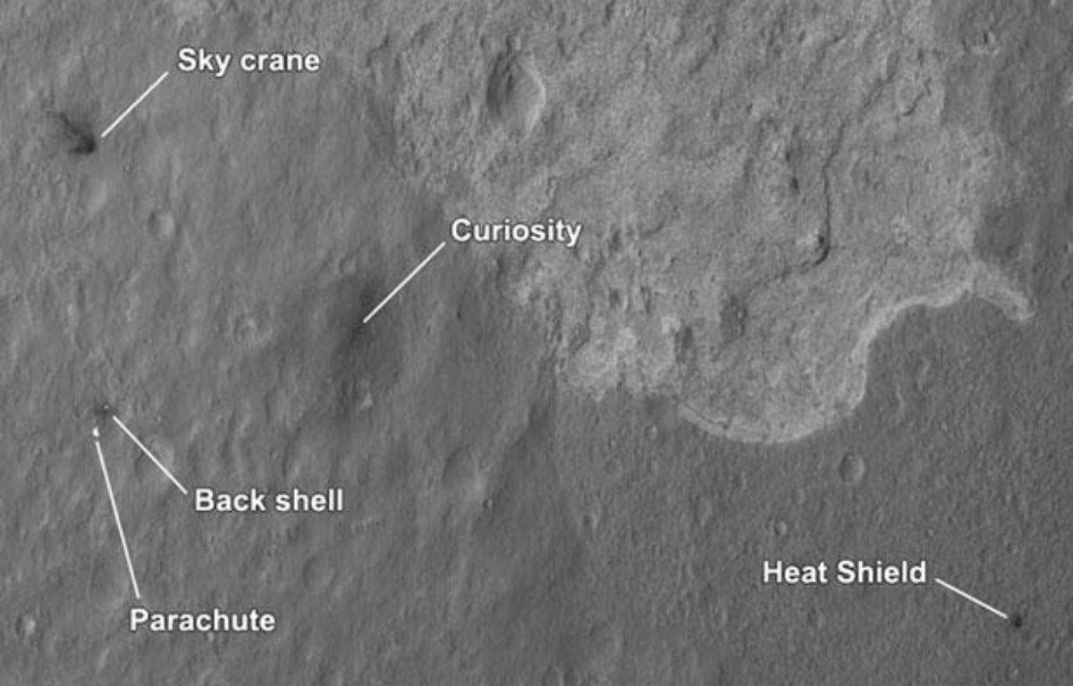 Carte de la Nasa montrant les lieux où ont atterri les divers éléments de la mission du robot Curiosity sur Mars. – HANDOUT / REUTERS