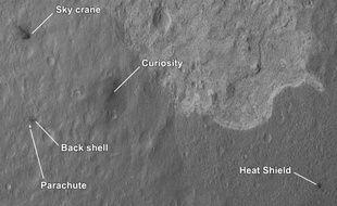 Carte de la Nasa montrant les lieux où ont atterri les divers éléments de la mission du robot Curiosity sur Mars.