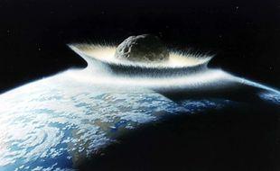 Illustration, impact astéroïde-terre