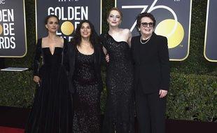 Les actrices Natalie Portman, America Ferrera, Emma Stone et Billie Jean King aux Golden Globes, le 7 janvier 2018.