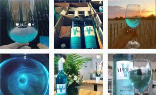 Des posts Instagram (plus ou moins sponsorisés) présentent le vin bleu de Vindigo.