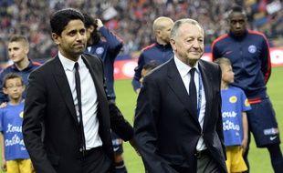 Jean-Michel Aulas aux côtés de Nasser Al-Khelaïfi, ici lors de la finale de Coupe de la Ligue entre Lyon et Paris, en avril 2014.