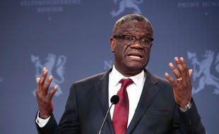 Denis Mukwege, prix Nobel de la paix, le 11 décembre lors d'une conférence de presse à Oslo.